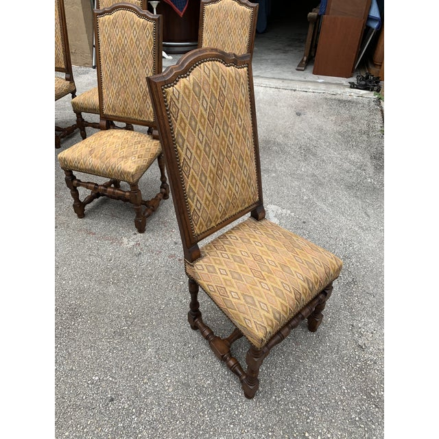 1900s French Louis XIII Style Solid Walnut Dining Chairs - Set of 6 For Sale - Image 10 of 13