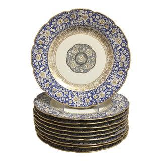 Blue Bavarian Gold Trim Scalloped Floral Dinner Plates - Set of 6 For Sale