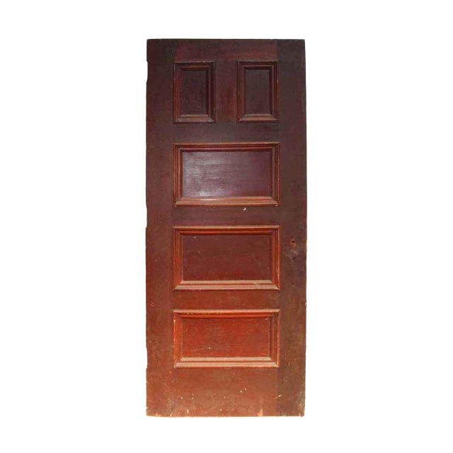 Antique 5 Panel Interior Wood Door - Image 1 of 4