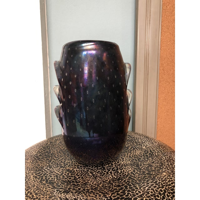Contemporary Iridescent Murano Glass Vase With Embedded Bubbles For Sale - Image 3 of 6