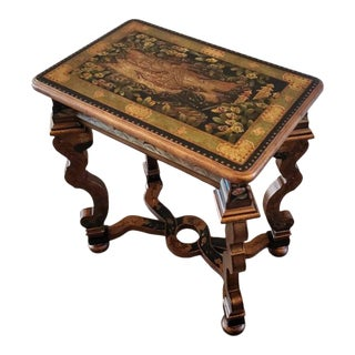 Modern Baroque Chinoiserie Hand Painted Ebonized Bronze Gilt Table For Sale