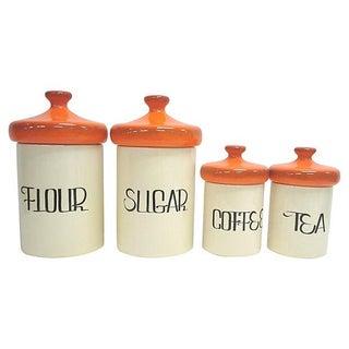 Mid-Century Orange Ceramic Canisters - Set of 4 For Sale