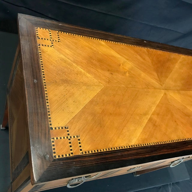 1920s French Louis XVI Style Petite Marquetry Inlaid Two Drawer Commode For Sale - Image 5 of 13