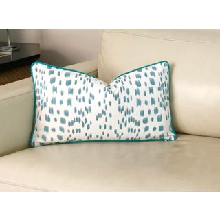 Contemporary Brunschwig and Fils Les Touches Animal Print in Aqua Designer Pillow Cover - 12x20 Preview