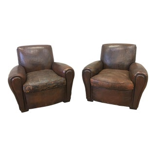 1930's French Art Deco Leather Club Chairs - A Pair