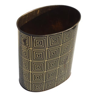 Oval Metal Wastecan in Black and Gold Coffered / Op Art Pattern