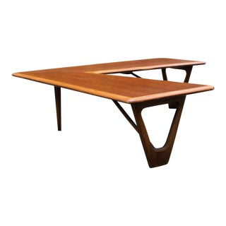 1960s Danish Modern Lane Furniture Teak Boomerang Cocktail Table For Sale