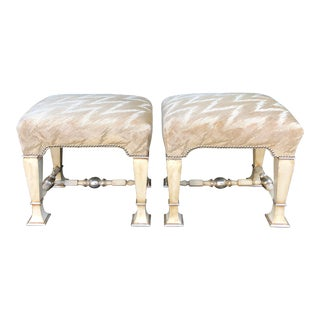 Pair of Carved Italian Designer Benches by Randy Esada Designs for Prospr For Sale