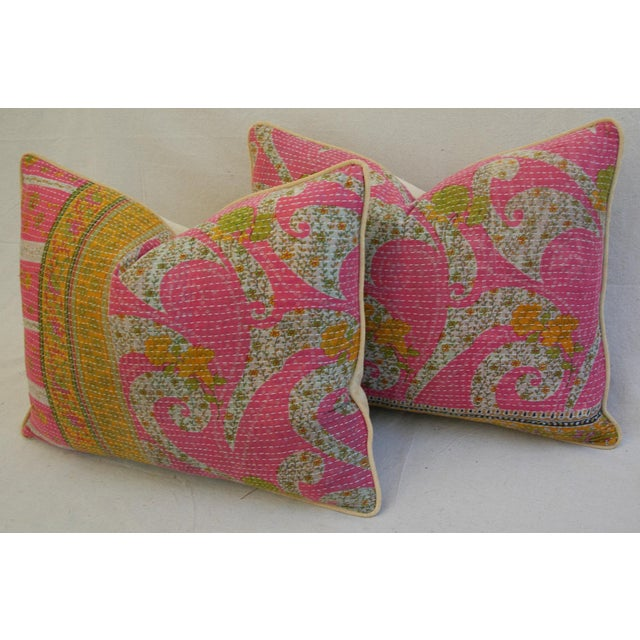 Vintage Kantha Textile Pillows - a Pair For Sale - Image 9 of 11