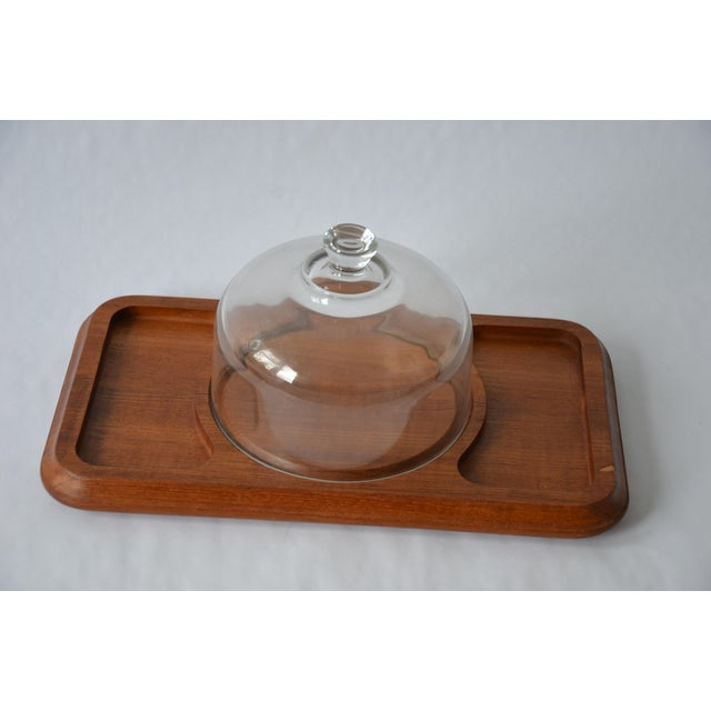 Mid-Century Danish Modern Glass Domed Teak Cheese Serving Board For Sale - Image 9 of 9