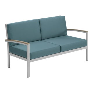 Cushion Outdoor Loveseat, Vintage and Blue For Sale