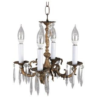 Neoclassical Petite Bronzed Metal Figural Cherub 4-Light Hall Chandelier For Sale