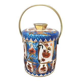 Blue & Orange English Lidded Tin For Sale