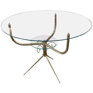 1940s Round Deco Coffee Table in Brass For Sale