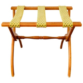 1960s Needlepoint Strapped Oak Luggage Rack For Sale