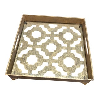Contemporary Gold Metal and Glass Tray For Sale