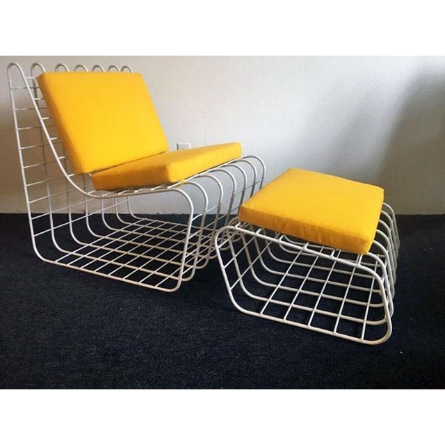 1970s Mod Wire Lounge Chair With Ottoman For Sale In Seattle - Image 6 of 13