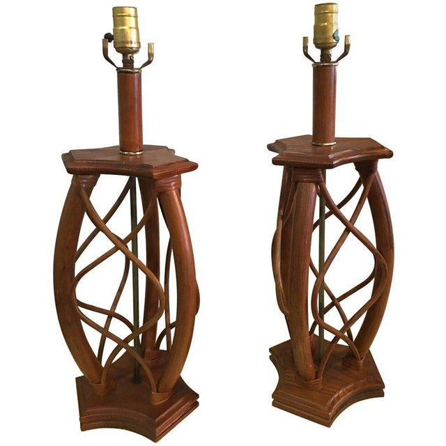 Vintage Mid-Century Modern Rattan Table Lamps - a Pair - Image 11 of 12