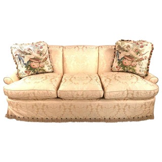 Damask Finely Upholstered Couch or Sofa Having Two Custom Cushions For Sale