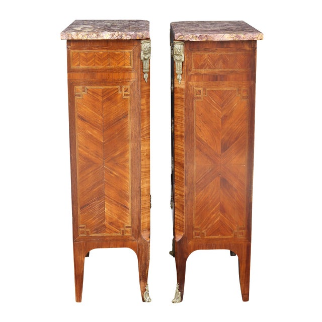 Louis XV Style Tulipwood Petit Commodes - a Pair For Sale - Image 10 of 12