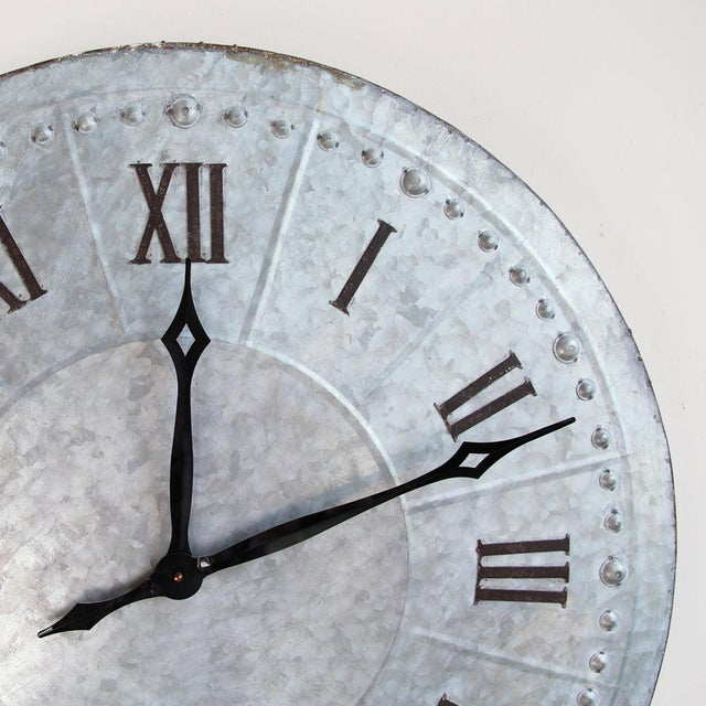 Industrial Galvanized Wall Clock - Image 3 of 4