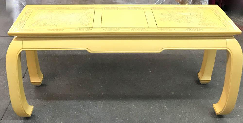 Mid Century Hollywood Regency Asian Console Table In Yellow   Image 5 Of 10