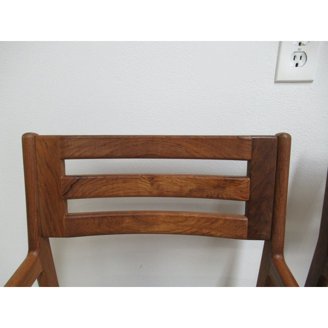 Danish Modern Teak Ladder Back Bar Counter Arm Stools - a Pair For Sale In Philadelphia - Image 6 of 12