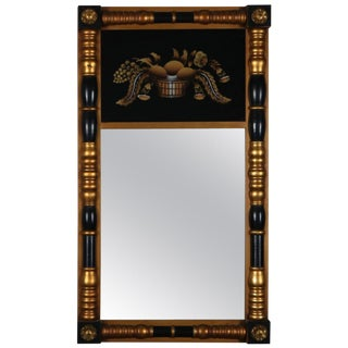 Lambert Hitchcock Painted Giltwood Still Life Eglomise Trumeau Wall Mirror For Sale