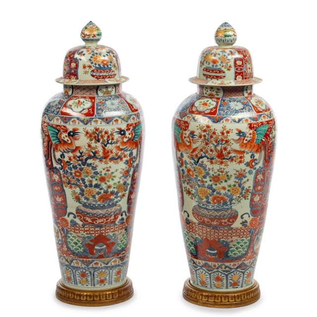 Japanese Imari Porcelain Covered Jars - a Pair For Sale - Image 12 of 12