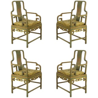 Four Gump's 1940s, Hand-Painted Chinoiserie Armchairs For Sale