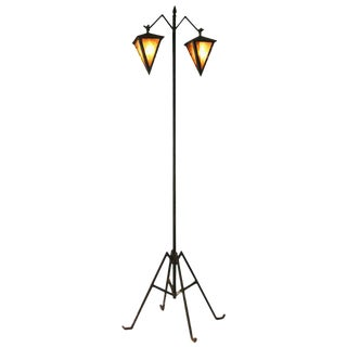 Arts & Crafts Floor Lamp with Dual Lanterns For Sale