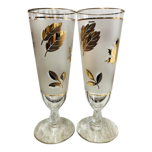 Vintage Frosted Gold Leaf Pilsner Glasses - A Pair For Sale