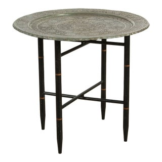 Antique Persian Copper Tray Side Table For Sale