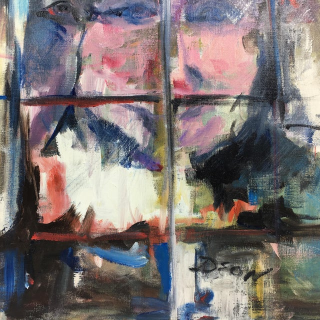"Deon Robertson ""Night Window Shoppers"" Abstract Oil on Canvas Painting - Image 4 of 6"