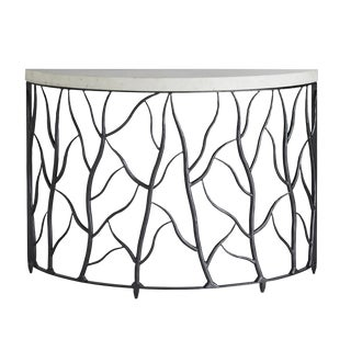 Arteriors Modern Gray Iron and White Marble Root Demi-Lune Console Table For Sale