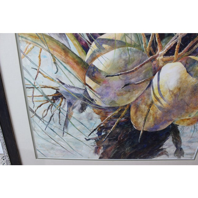"""Yellow Vintage Barbara Shipman Watercolor Painting """"Lots of Coconuts"""" For Sale - Image 8 of 13"""