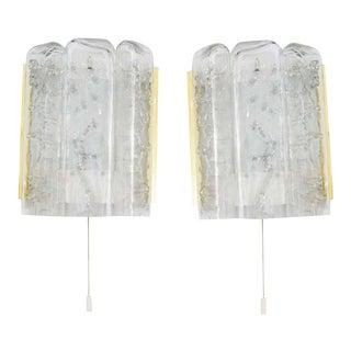 Mid-Century Modern Doria Leuchten Brass and Glass Sconces - a Pair For Sale