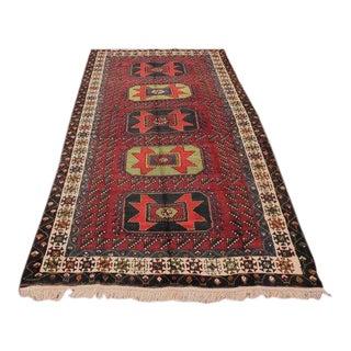 Vintage Turkish Oushak Handmade Maroon Wool Rug - 5′1″ × 9′10″