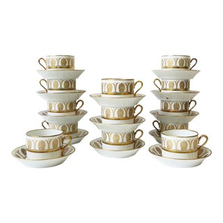 Richard Ginori Designer Italian White & Gold Coffee or Tea Cup Saucer, Set of 12 For Sale