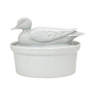 Vintage French White Porcelain Duck Baking Dish For Sale