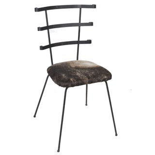 1950s Modernist Iron Side Chair with Cowhide Seat