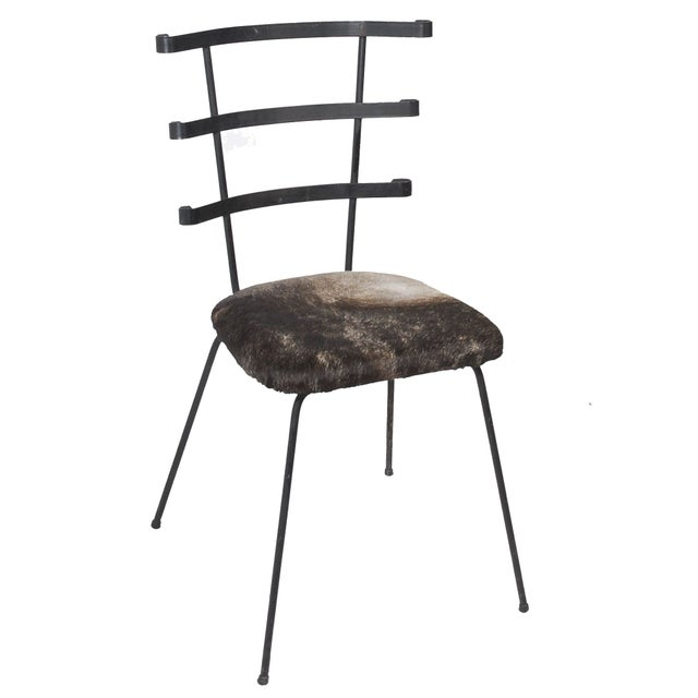 1950s Modernist Iron Side Chair with Cowhide Seat - Image 1 of 7
