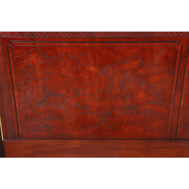 A gorgeous Hollywood Regency Chinoiserie queen size headboard from the Conoisseur line by Drexel Heritage. The headboard...