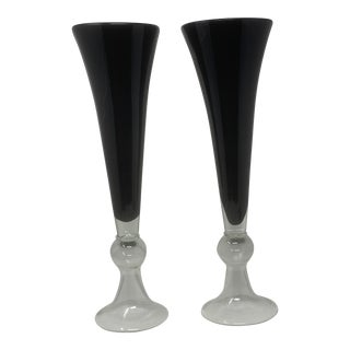Vintage Art Deco Style Black Glass Footed Vases - a Pair For Sale