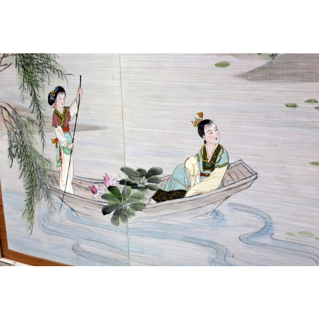 Asian Large Painting of Asian Ladies in a Pagoda and Lake Scene For Sale - Image 3 of 13