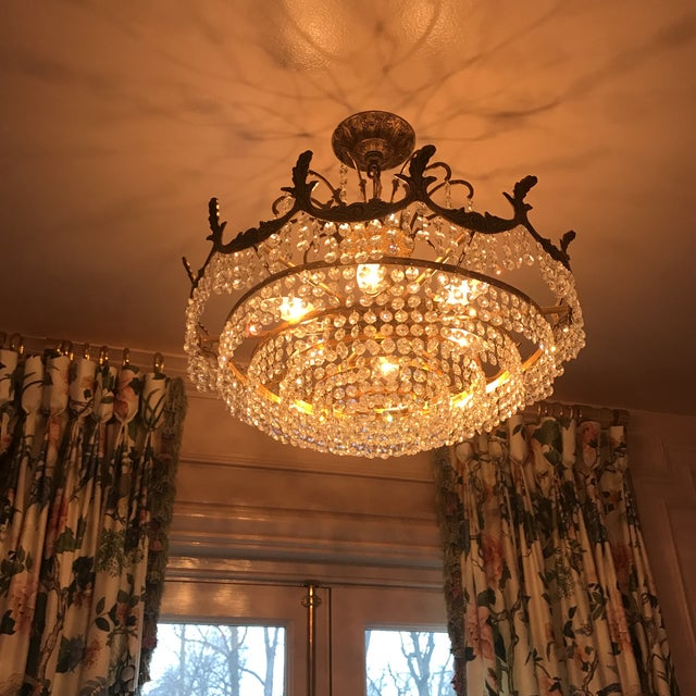 Art Deco Crystal and Brass Light Fixture - Image 7 of 7