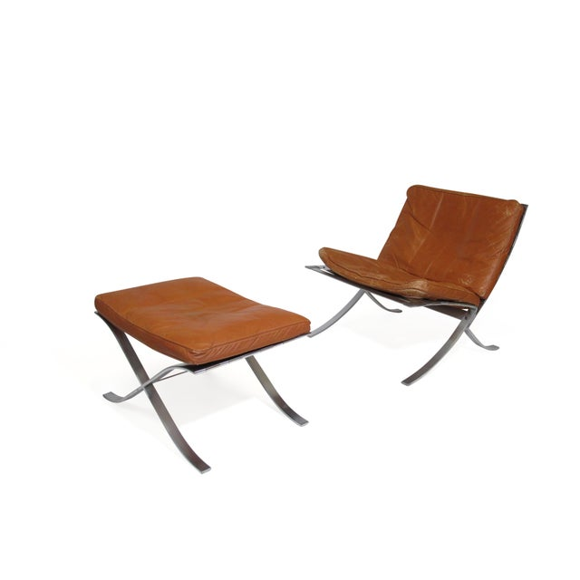Steen Ostergaard Steel and Leather Lounge Chair & Foot Stool For Sale - Image 11 of 13