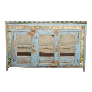 Antique Azure Colonial Tile & Glass Sideboard For Sale