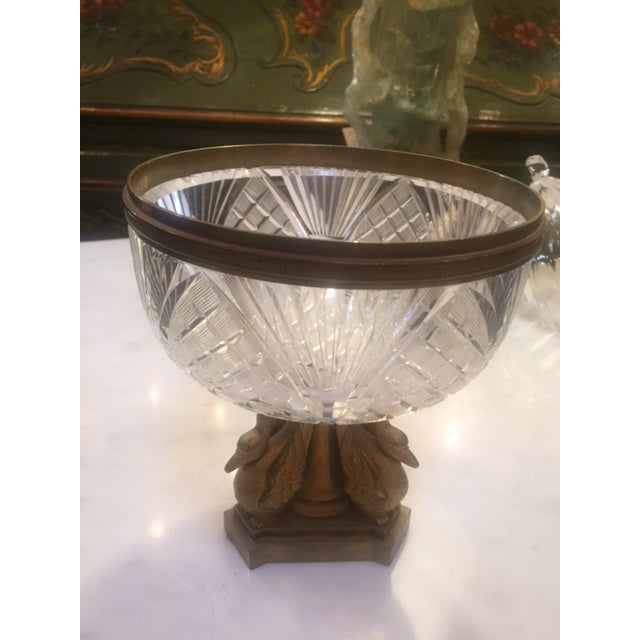 1900 - 1909 1900's French Crystal Bowl With Bonze Bird Base For Sale - Image 5 of 9