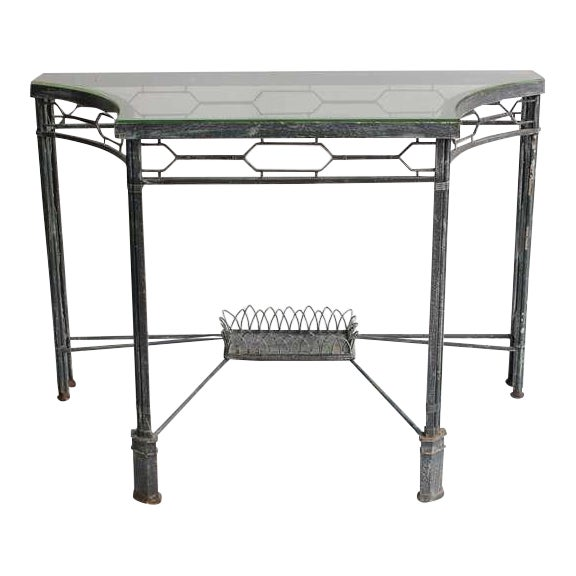 Modern Demilune/Console Metal Table, 2 available - Image 1 of 5